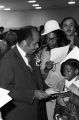 Mayor Richard Arrington talking to a young girl on the day of his inauguration as the first African American mayor of Birmingham, Alabama.