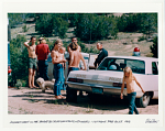 Hog Farm Camp in the Sangre de Cristo Mountains, New Mexico. Visit from the state police. 1968