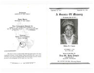 A service of memory, celebrating the life of, Helen R. Cason, October 2, 1993, at 11:00 a.m., service to be help at, New St. Ruth Temple, 13509 Mackay, Detroit, Michigan, Dr. Nettie Dennis, officiating minister