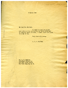 Letter from W. E. B. Du Bois to New York Public Library