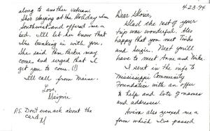 Letter from Marjorie Merrill to Gloria Xifaras Clark