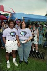 Partners Cherry and Pat Hussain participating in a gay-lesbian commitment ceremony, Piedmont Park, Atlanta, Georgia, June 22, 1991