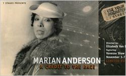 """Post card announcing the limited run of Vanessa Shaw's """"Marian Anderson: A Credit to the Race,"""" 7 Stages Theatre, Atlanta, Georgia, November 3-7, 1999"""