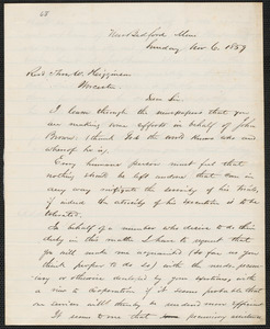 Henry B. Clarke autograph letter signed to Thomas Wentworth Higginson, New Bedford, 6 November 1859