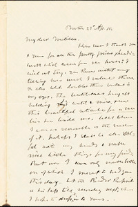 Letter from Theodore Parker, Boston, [Massachusetts], to Matilda Goddard, 1855 Ap[ril] 23