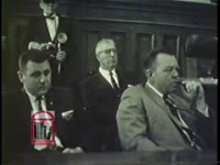 WSB-TV newsfilm clip of mayor Ivan Allen holding a meeting with Atlanta civic leaders about recent desegregation demonstrations, and Fulton county solicitor William T. Boyd pledging to prosecute demonstrators who break the law, Atlanta, Georgia 1964 January 27 and 1964 January 29