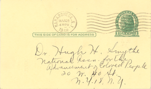 Postcard from NAACP Mamaroneck Branch to Hugh H. Smythe