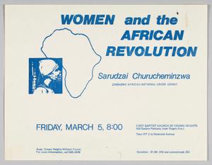 "Flyer advertising ""Women and the African Revolution"" program"