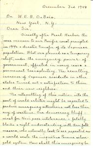 Letter from Harry W. Litchfield to W. E. B. Du Bois