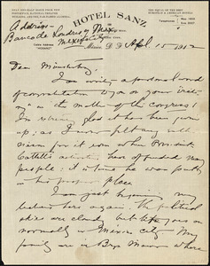 Baldwin, James Mark, 1861-1934 autograph letter signed to Hugo Münsterberg, Mexico City, 15 April 1912