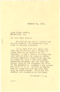 Letter from Jessie Fauset to Ellen Winsor