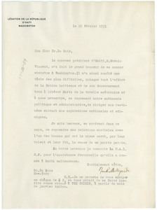 Letter from Dantés Bellegarde to W. E. B. Du Bois
