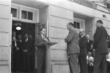 """George Wallace making his """"stand in the schoolhouse door"""" at the University of Alabama, attempting to prevent the integration of the school."""
