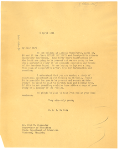 Letter from W. E. B. Du Bois to Fred M. Alexander