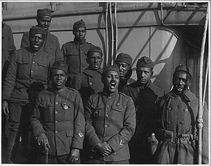 "[African American] minstrels on board the ""Saxonia"". Lieutenant Rutherford's Ministrels who he recr..."