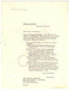 Letter from NAACP to Eleanor Roosevelt
