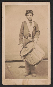 [Taylor, young drummer boy for 78th Colored Troops Infantry, in uniform with drum]