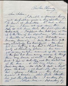 Letter from Caroline Weston, Boston, [Mass.], to Deborah Weston, Thursday evening, [Dec. 26, 1839?]