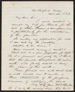 Henry B. Clarke autograph letter signed to [Thomas Wentworth Higginson], New Bedford, 10 November 1859