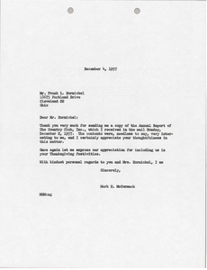 Letter from Mark H. McCormack to Frank L. Hornickel