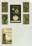 Trade cards and calendars depicting flowers, men in armor, the sun, wells, children and an African American boy