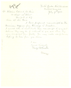 Letter from Percy H. Gentle to W. E. B. Du Bois