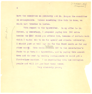 Letter from W. E. B. Du Bois to Unknown Recipient [Fragment]