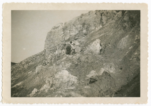 Digital image of a young woman posing on a seaside cliff on Martha's Vineyard