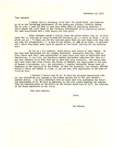 Letter from Joseph Felshin to Herbert Aptheker
