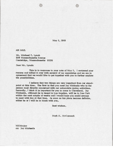Letter from Mark H. McCormack to Michael T. Lynch