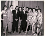 Group photograph of entertainers at the Dunes, including Anna Bailey and Frank Sinatra