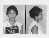 Mississippi State Sovereignty Commission photograph of Sandra Nixon following her arrest for her participation in the Freedom Rides, Jackson, Mississippi, 1961 May 30