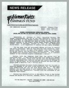 [News release: Former Congresswoman Geraldine Ferraro calls for an end to military ban at Campaign Fund dinner] Human Rights Campaign Fund (HRCG), 1991