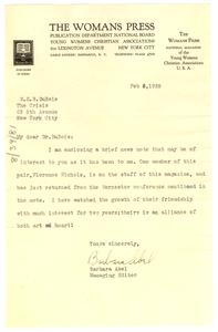 Letter from Barbara Abel to W. E. B. Du Bois