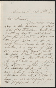 F. B. Sanborn autograph letter signed to [Thomas Wentworth Higginson], Concord, 6 October [18]59
