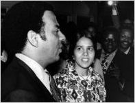 Andrew Young and wife Jean Childs Young with supporters after 1972 election, Atlanta, Georgia, November 8, 1972