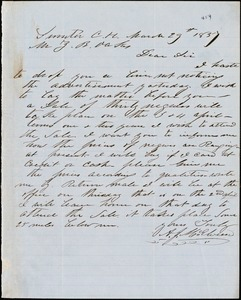 A. J. McElveen autograph letter signed to Ziba B. Oakes, 29 March 1857