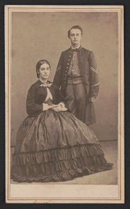 [Unidentified soldier in Union uniform with unidentified woman, probably his wife]