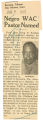 Negro WAC pastor named; Evening Tribune (Des Moines, Iowa); Women's military activity