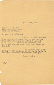 Letter from Jessie Redmon Fauset to J. M. Pollard