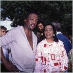 """Paul Winfield and Coretta Scott King on set during the filming of """"King,"""" 1977"""