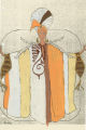 Costume design drawing, stylized robe with turban and branches, Las Vegas, June 5, 1980