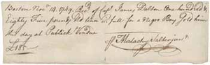Bill of sale from Malachy Salter, Jr. to James Dalton for a slave, 14 November 1749