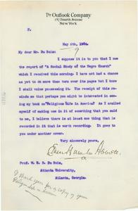 Letter from Ernest Hamlin Abbott to W. E. B. Du Bois