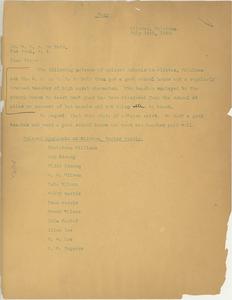 Letter from Christena Williams to W. E. B. Du Bois
