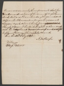 Bill of sale for one slave man: Lawson, 35 y.o., from A.M. Bogle to A. Carson