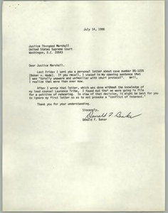 [Letter from Don Baker to Justice Thurgood Marshall about Baker v. Wade]