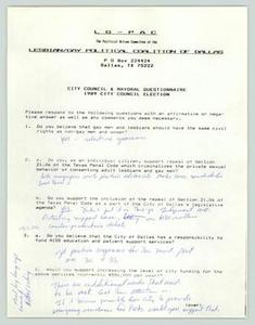 [Questionnaire: City Council & Mayoral questionnaire] Lesbian/Gay Political Coalition of Dallas (LGPC), 1988-1989