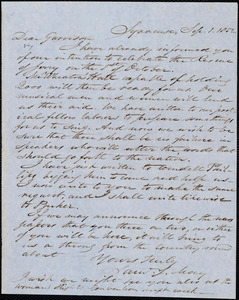 Letter from Samuel Joseph May, Syracuse, [N.Y.], to William Lloyd Garrison, Sept[ember] 1. 1852