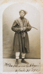 Postcard of William Bander, in costume, mailed to Miss Ida B. Gross in Boston, Mass
